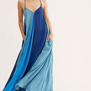 FREE PEOPLE MIXIN IT UP BLUE BEACH MAXI DRESS S